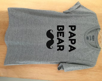 825ab957 PAPA BEAR Unisex Crew Neck Tee Shirt Unisex Men's Funny Tees Graphic Tee  Father's Day Gift Printed T-Shirt Tumblr quotes Daddy Mustache