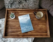 Decorative Ottoman Tray Farmhouse Home Decor Rustic Coffee Table Tray Wooden Tray with Handles Custom Gift Rustic Wood Tray