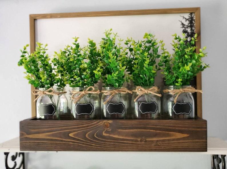 Mason Jar Centerpiece Herb Garden Box Indoor Herb Garden Etsy