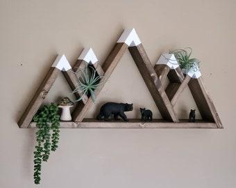 Wooden 5-Peak Mountain Shelf, Rustic Wooden Shelves, Geometric Shelves, Nursery Wall Art, Nursery Shelves, Mountain Wall Decor, Camping Gift