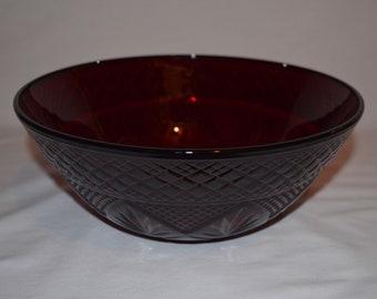 Signed Studio Pottery Large Art Bowl Boho Bohemian Ceramics Platter Maroon Plum Burgundy Red Salad Serving Bowl Boho Table Decor