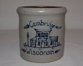 Rowe Pottery Works - Rowe Store Building Cambridge Wisconsin - Utensil Spoon Crock - Date Stamp 1992 - Salt Glaze Pottery Blue Glaze Accents