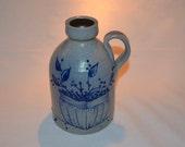 Salmon Falls Pottery - Berry Basket - Stoneware Jug with Handle - Dover NH - Salt Glaze Pottery - Gray Pottery with Raised Blue Glaze
