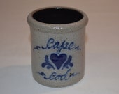 Rowe Pottery Works - Cape Cod - Mini Utensil Spoon Crock - Heart - Cambridge WI - Date Stamp 1994 - Salt Glaze Pottery - Blue Glaze Accents