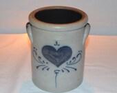 Rockdale Union Stoneware - Heart Tall Utensil Crock - Canister - Crock - Cambridge WI - Date Stamp 1987 - Handmade Pottery - Blue Glaze