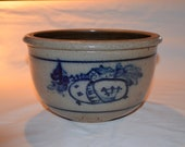 Rowe Pottery Works - Mixing Bowl with Double Sided House Pattern - Cambridge WI - Date 1987 - Heirloom Salt Glaze Pottery - Blue Accents