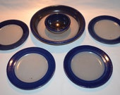 Rowe Pottery Works - Chip Dip Combo Bowl with 4 Snack Plates - Cambridge WI - Date 1991 - Salt Glaze Pottery - Blue Accents