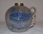 Salmon Falls Pottery - Oil Lantern Base ONLY - Berry Basket - Pottery Stoneware - Dover NH - Salt Glaze Gray Pottery with Raised Blue Glaze