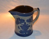 Beaumont Brothers Pottery - Cream Pitcher with Handle - 1996 Crooksville OH - Handpainted Floral Design - Gray with Blue Accents