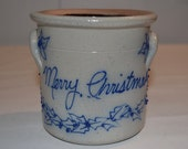 Salmon Falls Pottery - 1994 Merry Christmas Utensil Spoon Crock - Dover NH - Salt Glaze Pottery - Gray with Raised Blue Letters Holly Ivy