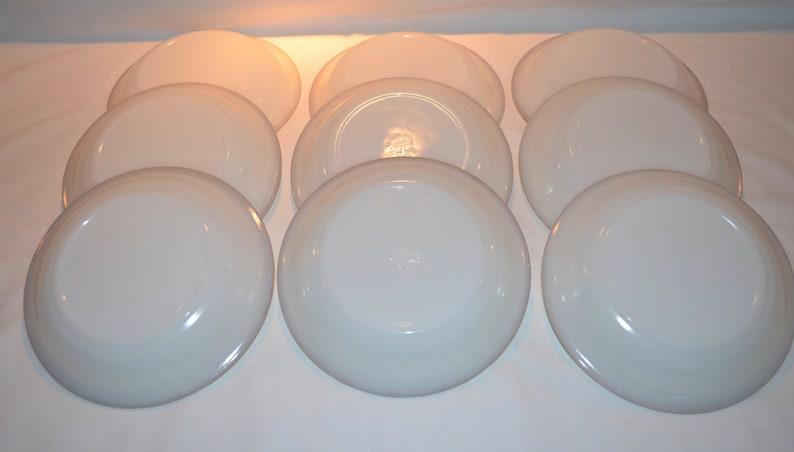 Ovenware Anchor Hocking Golden Anniversary White Fire King Gold Rim Swirl Soup Bowls 7.5 Diameter SET of 9 White Milk Glass