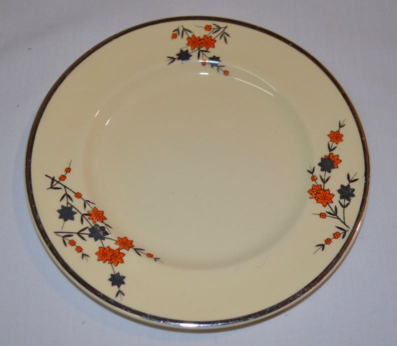 Cream with Brown Orange Floral Johnson Bros England English China Silver Rim SET of 6 Bread Butter Plates Victorian Argent RARE