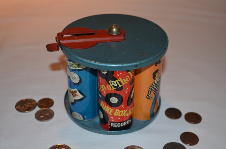 RARE - 1960s Green Monk Juke Box Bank - Metal Tin Child's Coin Bank - 6  Cylinders and Rotating Top - Made in England - Very RETRO GROOVY