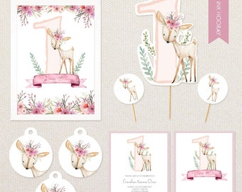 Personalised Floral Deer Party Pack - includes invitations, cake topper, poster, thank you tags etc.