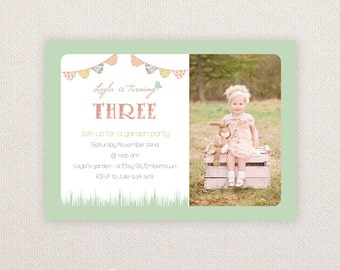 Photo Birthday Party Invitations. Vintage Garden Party. I Customize, You Print.
