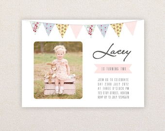 Photo Birthday Party Invitations. Shabby Chic Bunting. I Customize, You Print.