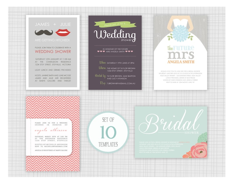 Mini Pack 21. 10 PSD Wedding Shower Invitation Templates INSTANT DOWNLOAD
