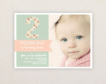 Photo Birthday Party Invitations. Floral number. I Customize, You Print.