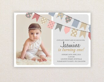 Photo Girls Birthday Party Invitations. Bunting Flags. I Customize, You Print.