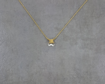 Cute Dainty Gold 18K Top-hat and Mustache Jewelry Moustache Everyday Unique Special Tiny Necklace in Gift Box Hipster Victorian Plated Fill