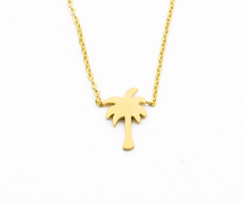Palm Tree GOLD Plated Necklace Gift Box Tropical Leaves Arecaceae Hawaii Luxury Plant Gardening