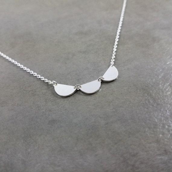 Semi Circles Silver Plated Necklace Gift Box Circular Trendy Half Circle Pendant