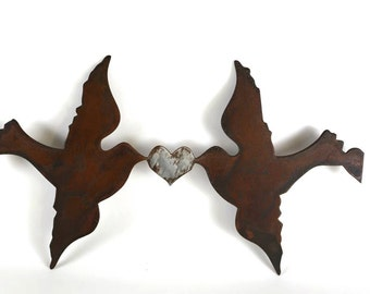 Love Birds Metal Wall Art, Plasma Cut Metal Art