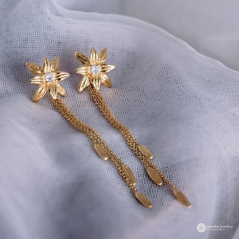 Silver 925 Asoka Dainty Drop Earring Gold Plated 18K Sunaka Jewelry Gift Traditional Earrings Handmade Jewelry