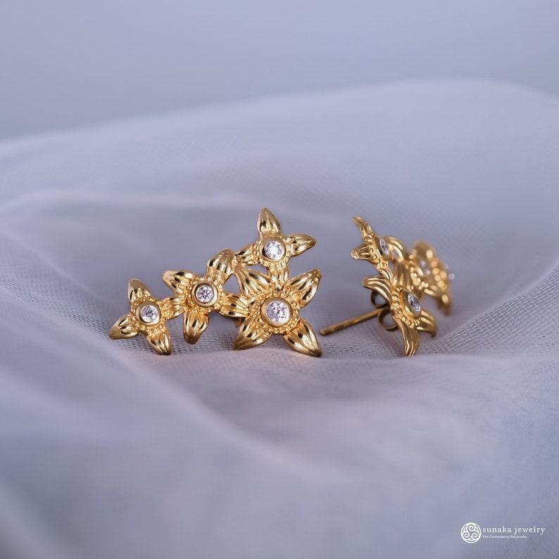 Handmade Jewelry Gold Plated 18K Sunaka Jewelry Ear Cuff Silver 925 Traditional Earrings Gift Asoka Ear Climber