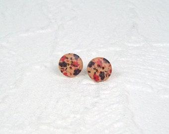 Stud Earrings Flower Purple & Pink