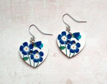 Earrings Heart Blue flowers