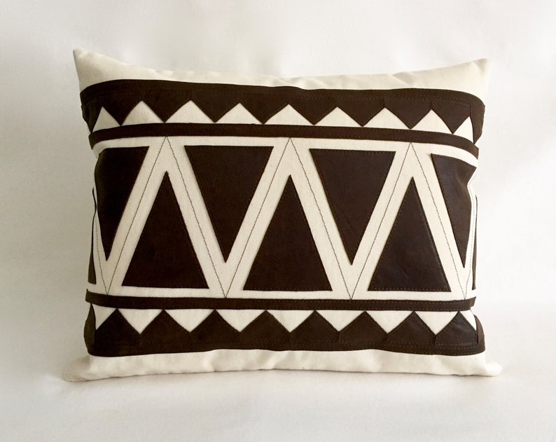 Lumbar Brown Leather Pillows   Leather Pillow   Geometrical Pattern    Tribal Pillows For Chair Or Sofa By Renaissance Cushions