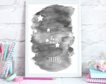 Taurus Zodiac Constellation– Wall Art - Alcohol ink/Mixed Media Poster Print/Taurus Star Constellation/Taurus Art Print/Taurus Zodiac Decor