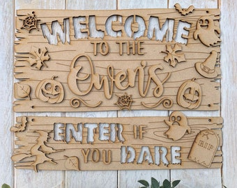Personalised Halloween Family Surname Craft Kit Layered MDF Halloween Decoration Enter If You Dare