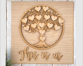30cm Square Multi Layered MDF Tree Heart Family Tree Kit DIY Family is Everything