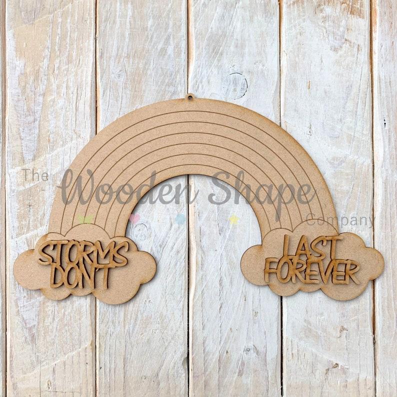 Mdf Laser Cut Craft KIT DIY Wooden Craft Kit Creative Craft Pack Wooden Rainbow R7 with wording