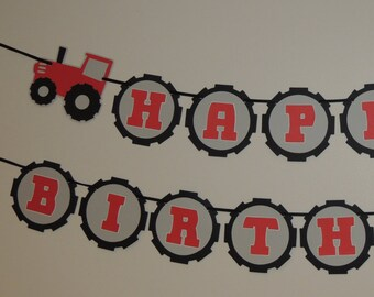 Tractor Happy Birthday banner. Red and gray or green and yellow.
