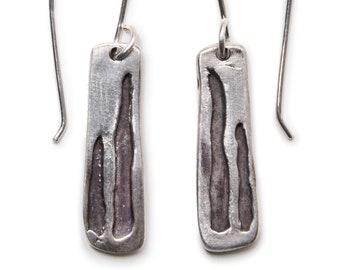 Shadows Earrings - Silver Bar Earrings - Oxidized Silver - Boho Chic - Striking - Unique - Sculptural - Contemporary - Abstract - Mod