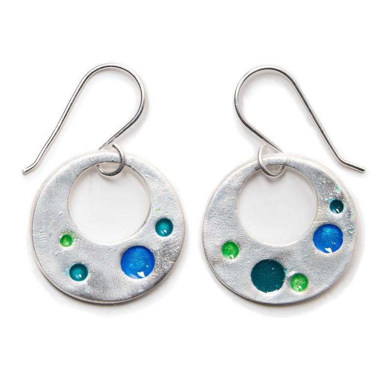 Silver and Enamel Hoops Earrings