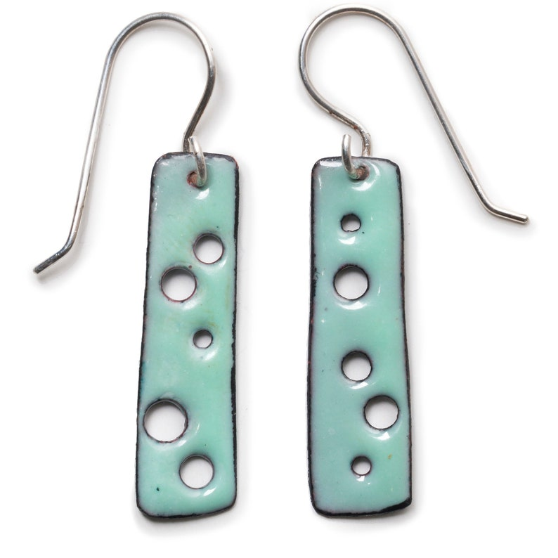 Contemporary and Colorful Earrings with Holes Enameled Copper Earrings Long Bar Earrings Aqua with Brown Backs