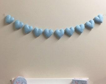 Blue heart garland, nursery bunting, Handmade felt hearts, pastel wall decor, nursery decor, baby shower, felt garland, photo shoot