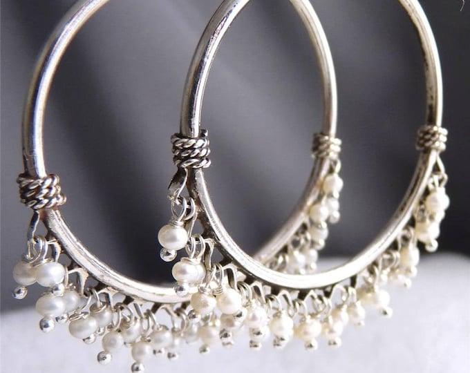 PEARL Jhumka Hoops Creoles Solid Silver Earrings YES1011