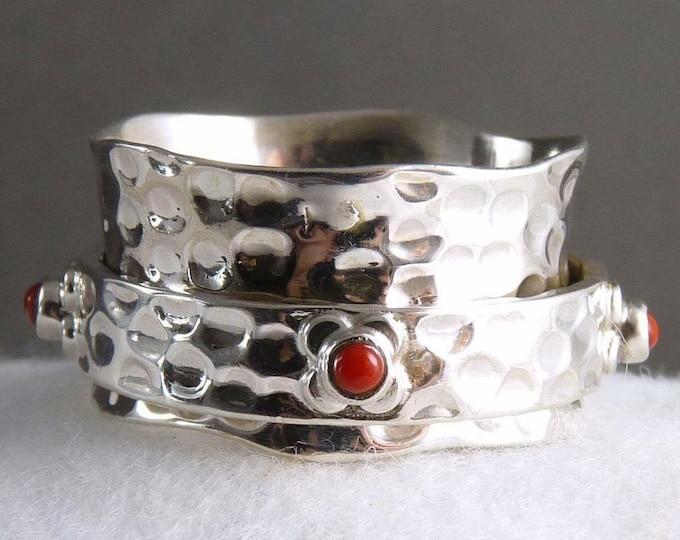 CORAL Daisy Wreath Spinner Ring Solid Silver SilverSari YSPR1056