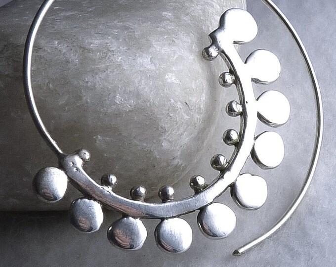 ROUND PETAL Half Moon Open Hoops SILVERSARI Earrings Solid 925 Stg Silver ~ ES1064