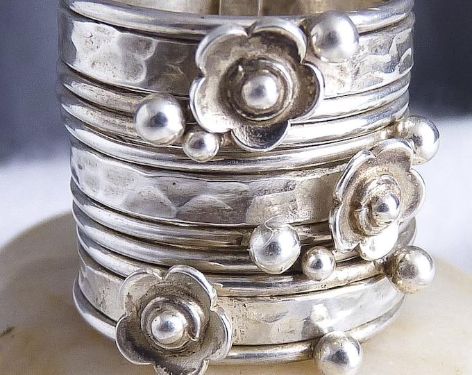 DAISY 11-STACK Nest SilverSari Stack Ring Solid 925 Sterling Silver YSTR1006