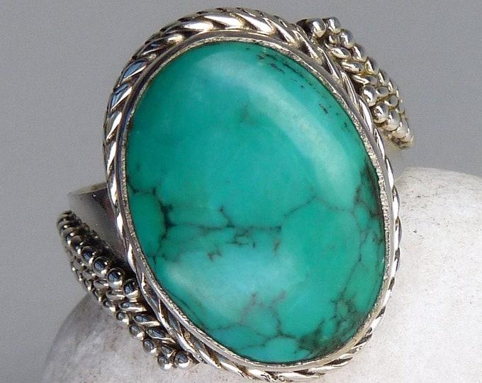 TURQUOISE Asymmetrical Gem Ring (US 6 1/2) Solid 925 Silver SilverSari YGR1073