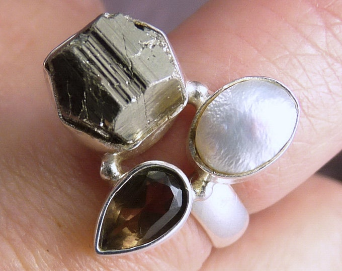 Pearl, Smoky Quartz + Rough PYRITE Ring Stg Silver US 6 SilverSari YGR1036