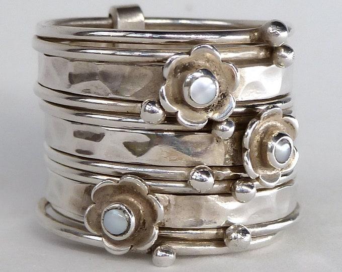 DAISY PEARL 11-STACK SilverSari Stack Ring Solid Silver YSTR1006