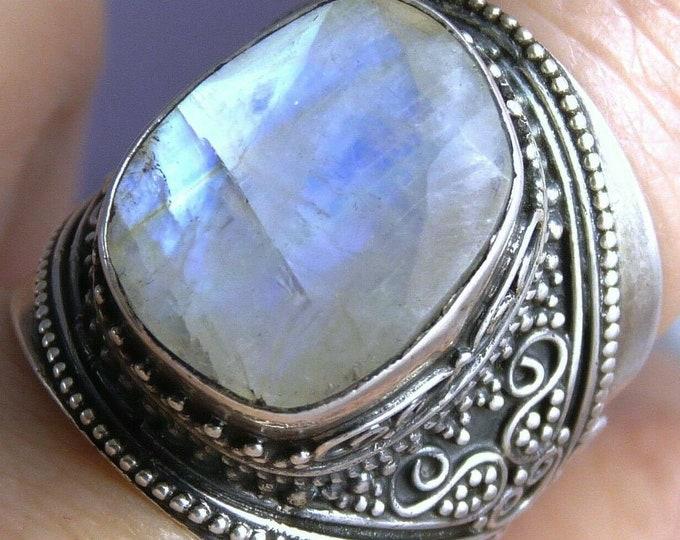 RAINBOW MOONSTONE Statement Ring (US 6.75) Solid Silver SilverSari YGR1097