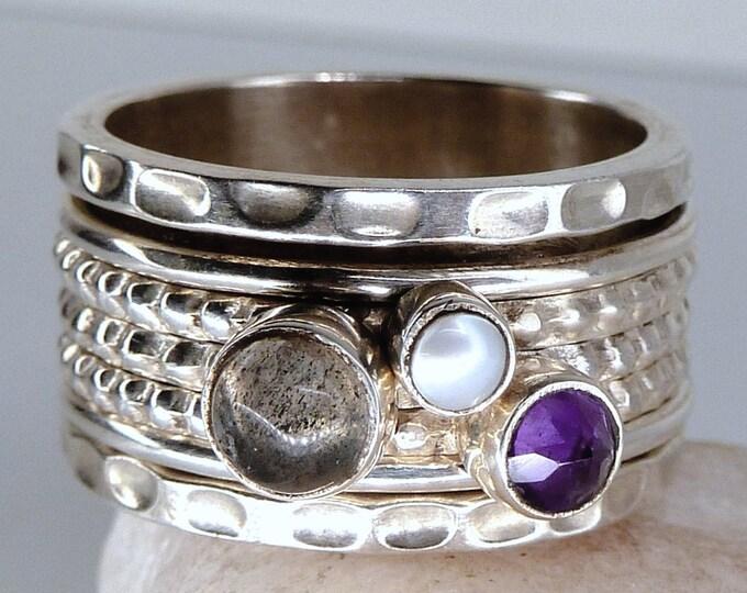 Multigem SPINNER 3-Spin Fidget Ring Solid Silver (US 8) SilverSari YSPR1066
